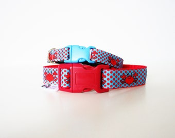 "Crab Polka Dot 5/8"" or 3/4"" Small Dog Collar Puppy Collar or Matching Lead"