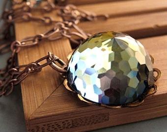 Vintage Swarovski Crystal Necklace - Vintage Geodesic Dome Crystal Pendant - Dark Amber, Slate Blue, Green on Antiqued Copper Chain