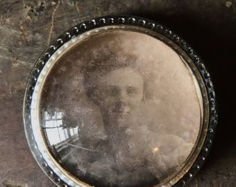 Antique Victorian photograph paperweight
