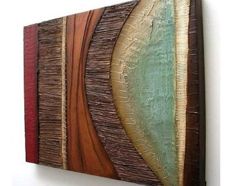Abstract Painting MODERN Textured Wall SCULPTURE Art Original Acrylic Hanging On Canvas Collage Mixed