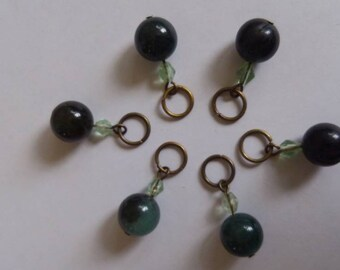 Green stone stitch markers