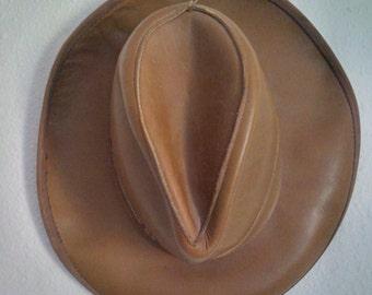 Leather Hat Vintage Leather Hat Indiana Jones Cowboy Western Fedora