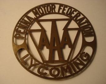 Vintage Metal Car Emblem Penna Motor Federation AAA