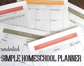 Teacher/Student Homeschool Planner (Undated) || Homeschool Planning || Homeschooling || Planner || Simple Planner || Homeschool Planner
