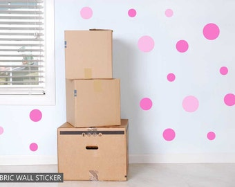 Pink Polka Dot Spots Fabric Wall Sticker Decals Reusable Set of 19 Circles