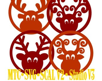 SVG Cut File Deer Gift Tag Set of 4 Christmas Set 04  Cricut Silhouette Cameo MTC SCAL Cutting Files