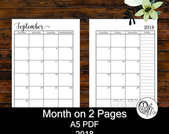 A5 Planner Inserts - Month on 2 Pages - Printable PDF - Dated 2018 Calendar plus BONUS Year at a Glance Insert