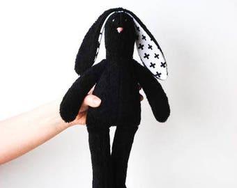Black Bunny Stuffed Bunny Soft Terry Cloth Bunny Doll Rabbit Hare Softie Plush baby shower Boy Girl  gift idea for Monochrome nursery decor