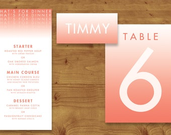 Modern Gradient Place Cards, Table Numbers, Menu Cards - Coral Wedding - Modern Wedding - Table Name - Name Card - Wedding Stationery