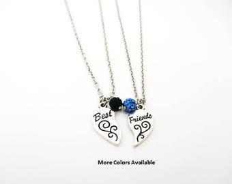 Best Friends Crystal Rhinestone & Charm Necklaces-Best Friend gifts-gift for Best Friends-Best Friend charm necklaces-Best Friends, B1390