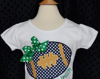 Personalized Football with Bow Applique Shirt or Bodysuit