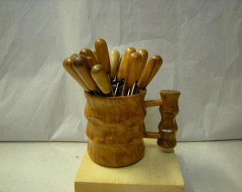 vintage set of hors d'oeuvre picks-14 picks-wood mug holder-party-appetizer picks-serving pieces-