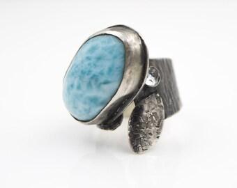 Larimar - Sky Blue Topaz - Hammered Sterling Silver - Adjustable Ring