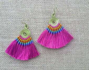 50% OFF Hot Pink Tassel Earrings, FRIEND GIFT Pink Tassels, Earrings Handmade, Modern Jewelry,Pink Jewelry, Stocking Stuffer, Gift for her