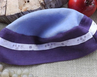 Lilac and Purple Two Toned 100% Linen Migba'ah Turban Cap for Ladies with Matching Little Purple Flower Trim