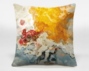 Decorative pillow cover with abstract art, 16x16 and 18x18 in yellow, orange and white, throw pillow, accent pillow, The Kiss
