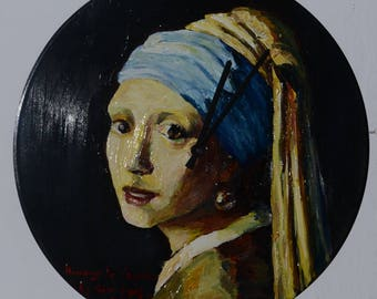 Girl with a Pearl Earring, Vermeer, real painting, clock, art