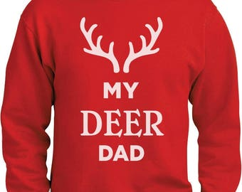 My Deer Dad Reindeer Antlers Christmas Sweatshirt