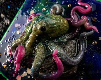 Hand Sculpted Octobabe on painted canvas - Magenta and Green Octopus mixes media Sculpture with bubbles and rhinestones