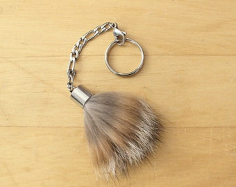 Recycled fur keychain in stainless steel, zippered charm