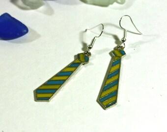 Blue and Yellow Neck Tie Enamel Charm Earrings - Harry Potter