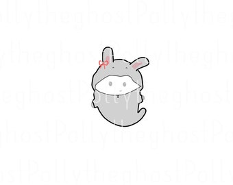 Large Polly grey rabbit - planner stickers