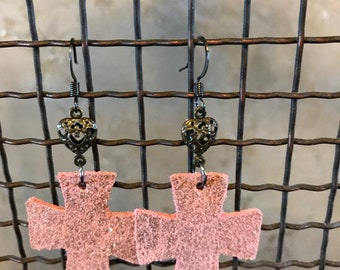 Pink Glitter Leather Crosses with Brass Hearts