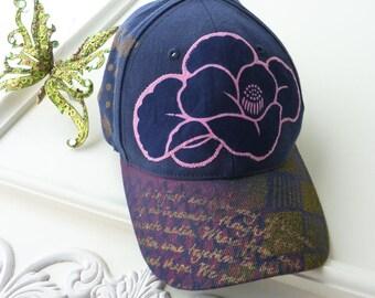 Hand painted baseball cap, blue, metallic gold, artsy hat, visor, OOAK, hiking, beach, wearable art, sport hat, upcycled, women, streetwear
