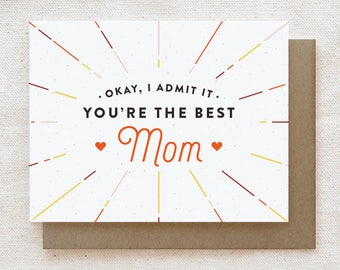 Funny Mother's Day Card, Funny Mom Birthday Card, Mother's Day Gift, Card for Mom, Happy Birthday Mom Card - Best Mom