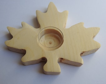 Maple Leaf Tealight Candle Holder Made of Wood Tealight Candle Holder Maple Leaf Shape Wooden