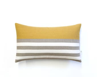 Striped Lumbar Pillow Cover in Yellow, Cream and Natural Breton Stripes by JillianReneDecor (12x20) Modern Home Decor, Spring, Summer