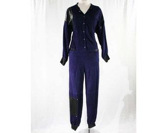 Size 10 Suede 80s Jumpsuit - Designer 1980s One Piece Pantsuit - Indigo Purple Suede - Black Leather - Eyelets - Bust 42 - Hip 37.5 - 44984