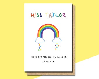 personalised card for teacher thank you card card for