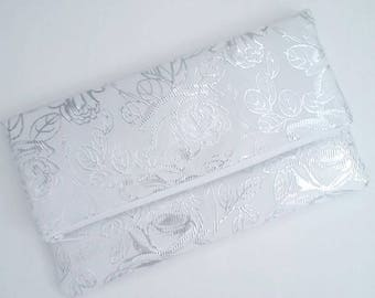 Metallic Silver Clutch - Silver And White Clutch - White Clutch - Silver Wedding Clutch - Silver Bridal Clutch - Silver Bridesmaid Clutch