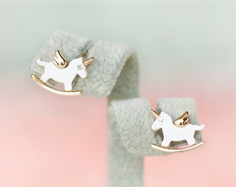 E029 White Unicorn Pony Crystal Rhinestone Stud Earrings Post Earrings Pierced Earrings 18 karat Gold Plated & 925 Sterling Silver Post