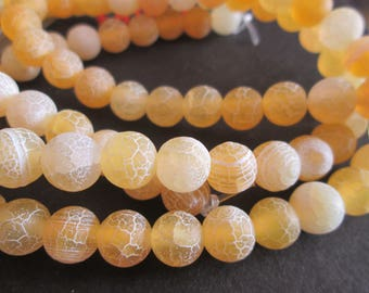 Yellow dragon veins agate round 8 mm 10 beads