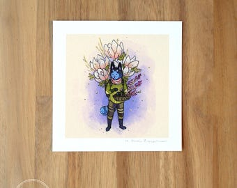 Cat Flower Guardian - Mini Fine Art Print
