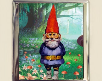 Garden Gnome Cigarette Case Business Card ID Holder Wallet Whimsical Lawn Ornament Retro Kitsch