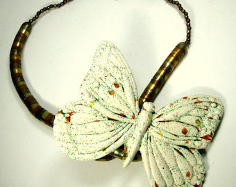 Ridiculously Gigantic BUTTERFLY Ceramic Focal on Multicolor Metals Bead Necklace, OOAK BY Rachelle Starr, Recycled Ecochic
