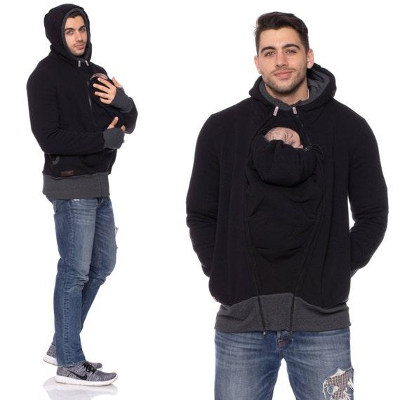 Baby Carrier Jacket For Men Multi Functional Kangaroo Hoodie