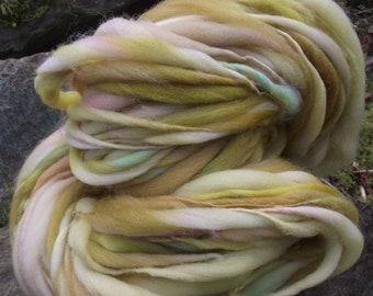 Handspun art  yarn, Handpainted yarn extreme thick and thin super bulky Organic Polwarth merino yarn-Goldberry