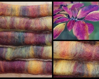 Rolags 22g Alpaca and Cotswold Blend Range of Purple, yellow, orange, blue 5 rolls for the money.
