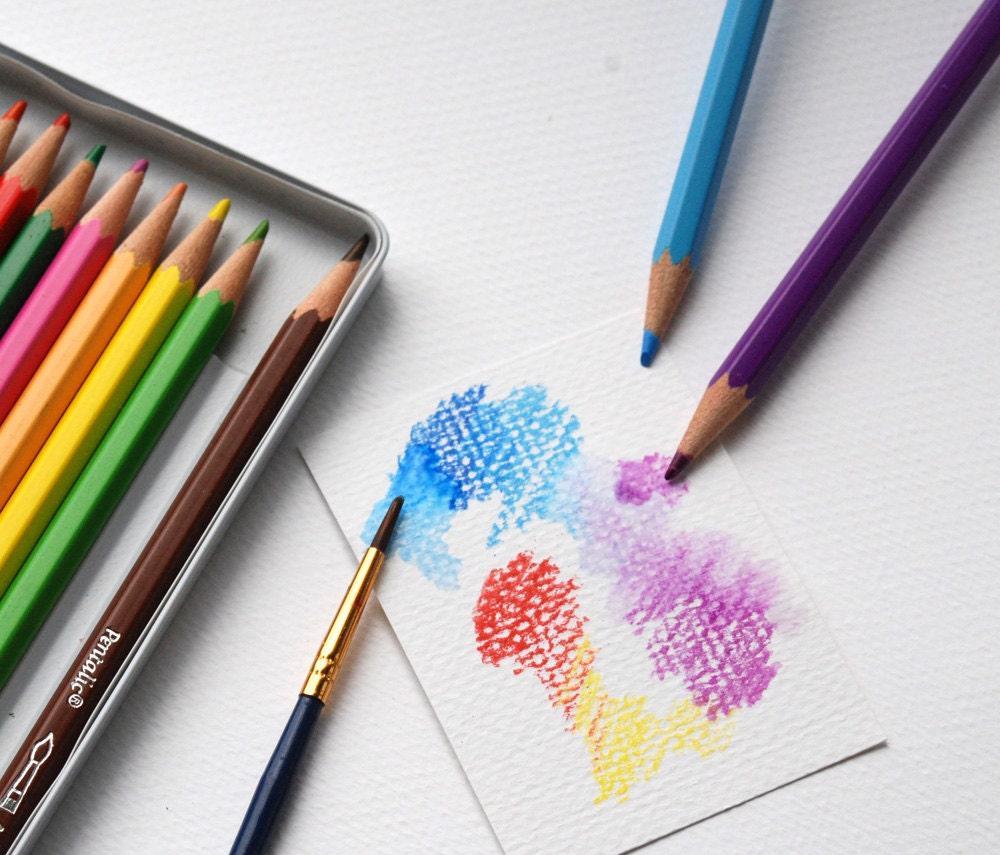 Watercolor Pencils Drawing pencils 12 pencil Set use wet or