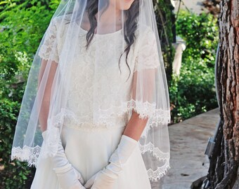 Waltz Length Drop Style Wedding Veil with Chantilly Lace and Blusher -  Butterfly Veil - Mantilla Blusher Veil - Cordoba