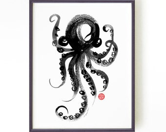 Octopus Print, Bathroom Wall Art, Sea Creature Large Poster, Octopus Illustration, Nautical Print, Laundry Wall Art, Abstract Art Modern Art