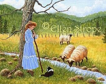 CARD, Shepherd Girl, Girl, Dog, Border Collie, Dog decor, Sheep, Water, Blue, Note card, Greeting cards, Ellen Strope