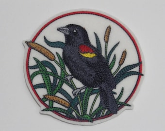 Bird Iron-on Patch. Embroidered Patch. Sew-On Patch. Birds on Flowering Branches Patch Red-winged Blackbird on Cattail