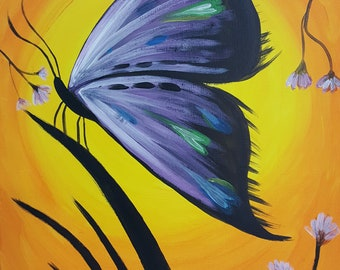 Original Butterfly Acrylic Painting on 16x20 inch stretched canvas