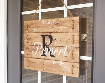 Front Door Decor- Family Est Sign- Family Door Hangers Wood-  Front Door Signs- Personalized Established Wooden Family Signs- Wood Signs
