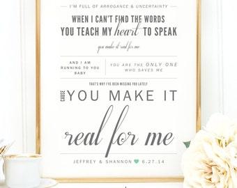 "Gray & Jade Green, James Morrison ""You Make It Real"" - Vday, Wedding Gift, Anniversary Gift, Wedding Song Lyrics Wall Art Print - Qty. 1"